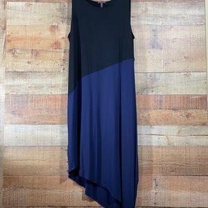 Eileen Fisher Viscose Jersey Black & Navy Dress LG